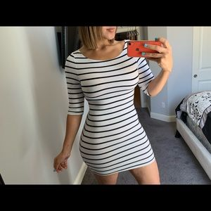 White striped mini dress with half sleeves